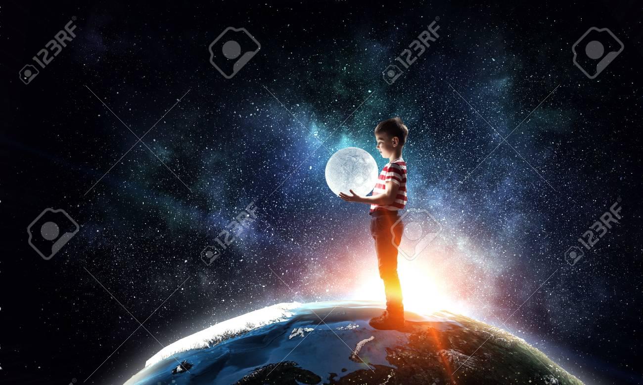 Boy holds the moon . Mixed media - 117677205