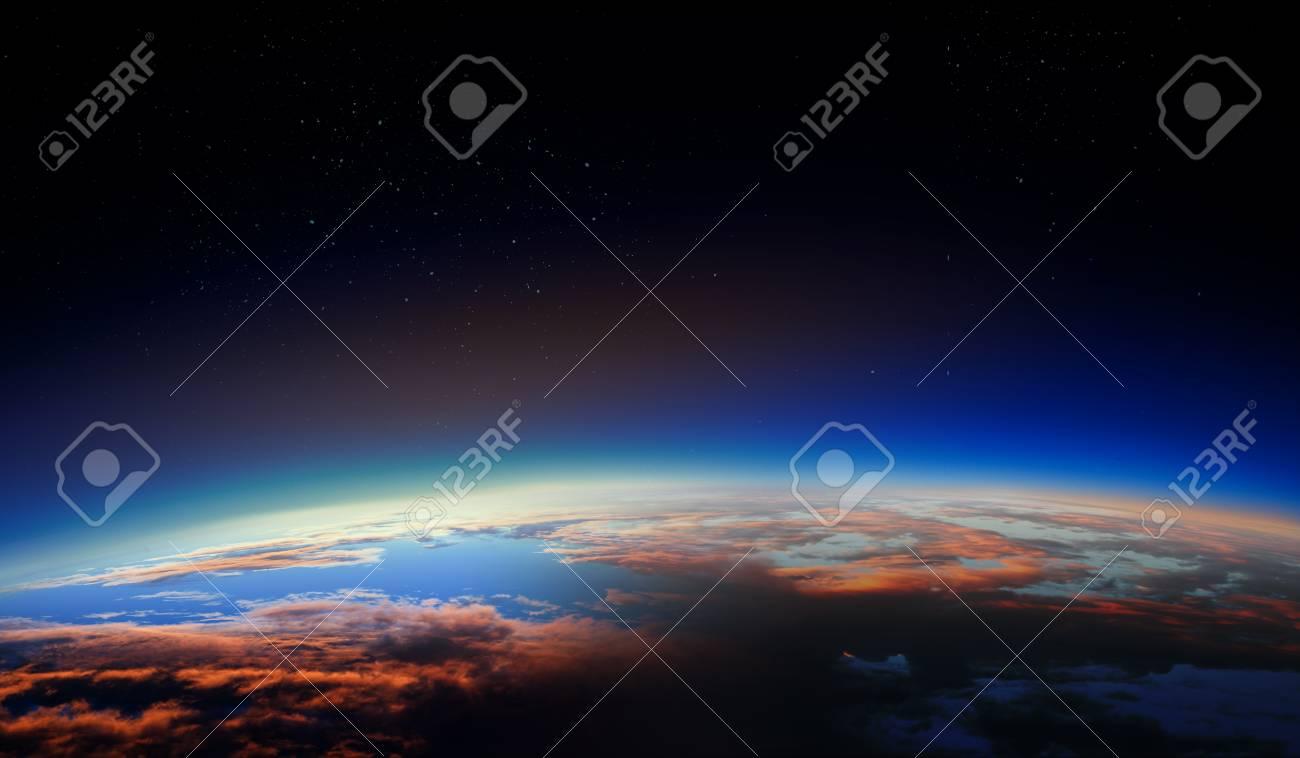 Sunrise on planet orbit, space beauty - 121615143