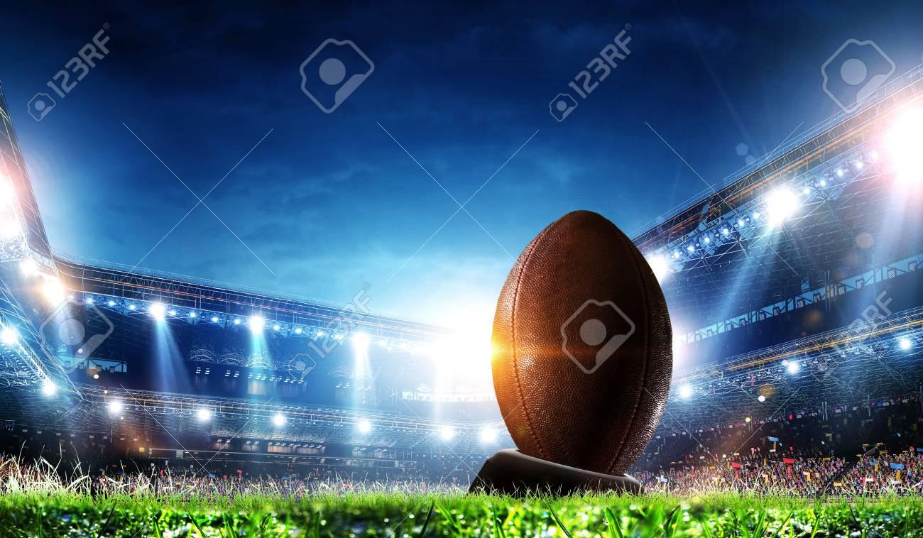 Full night football arena in lights - 123588263