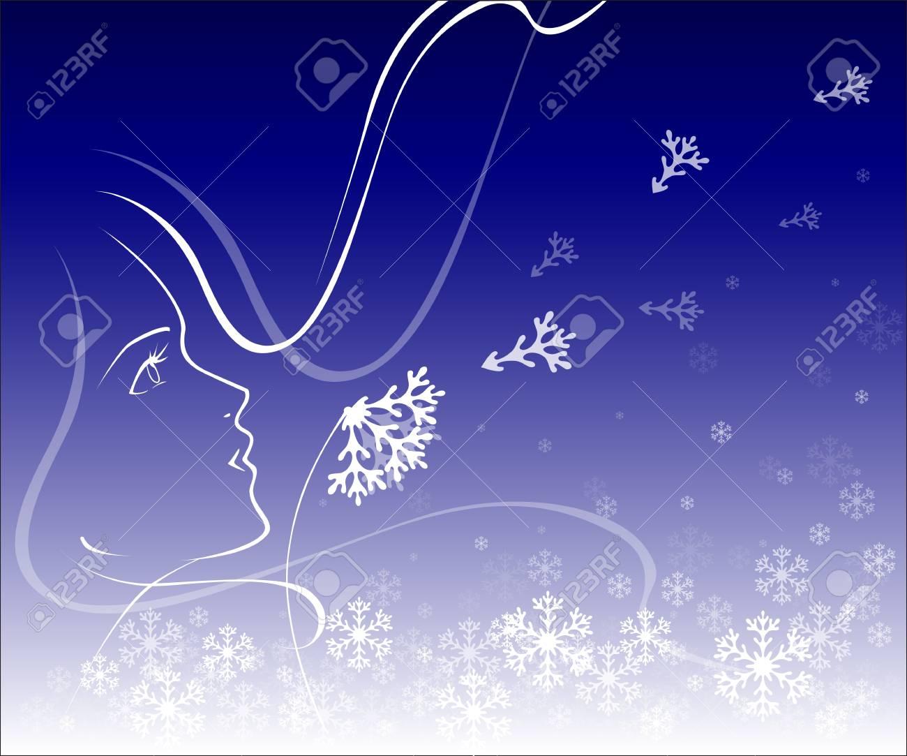 Illustration of girl with winter dandelion Stock Vector - 17314688