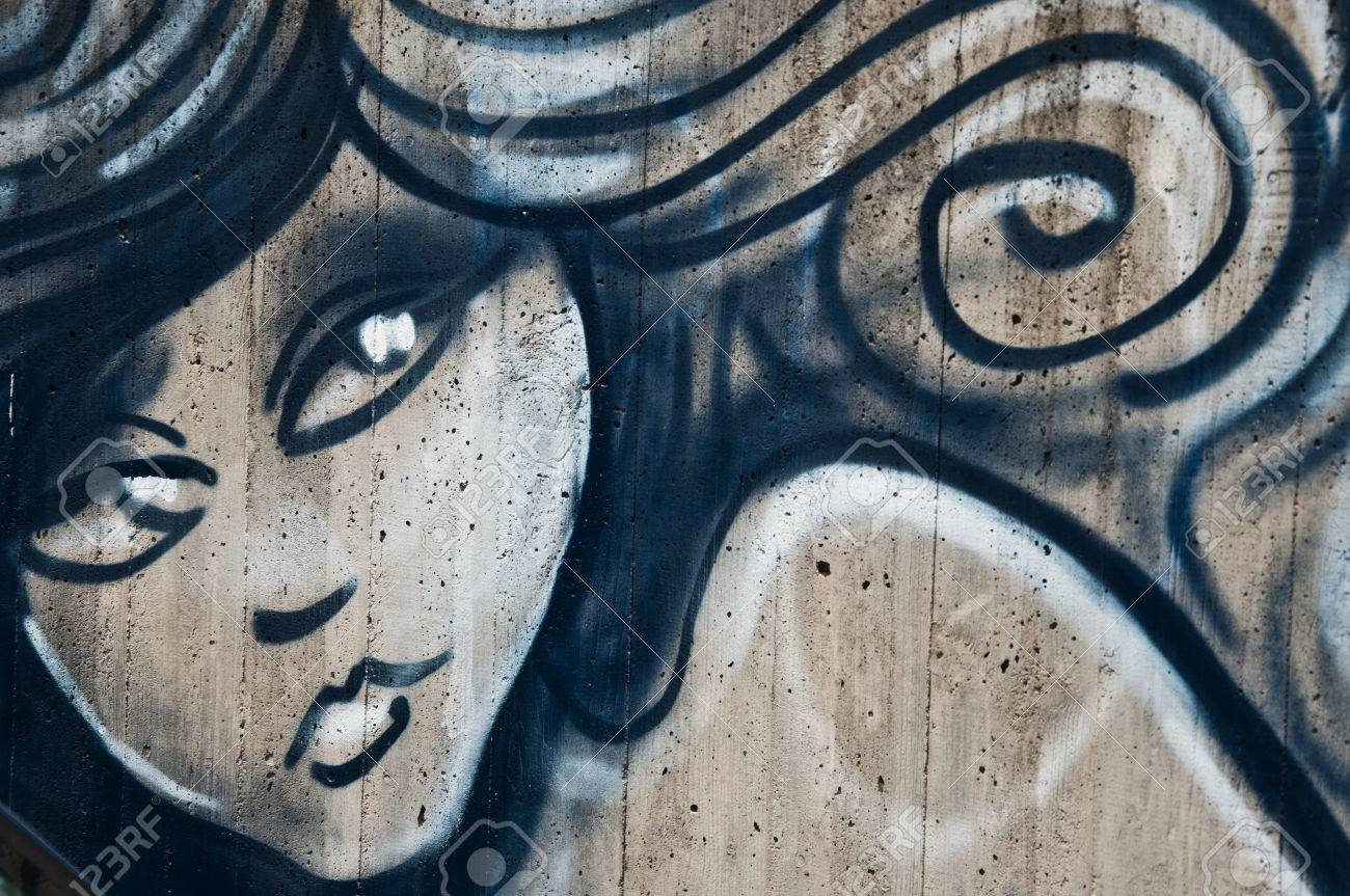 Stock photo urban art street in paris woman face
