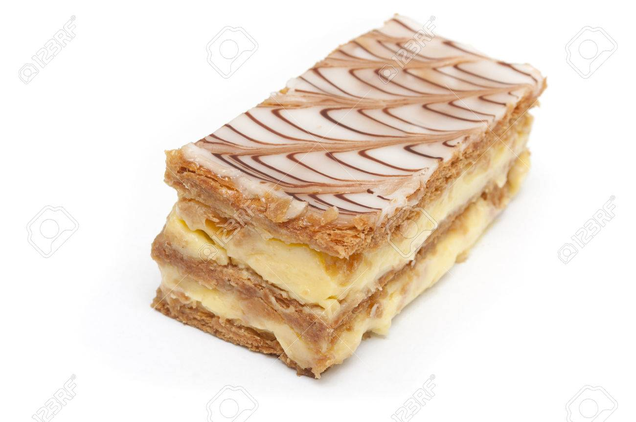 french mille-feuille cake closeup on white background - 31256749