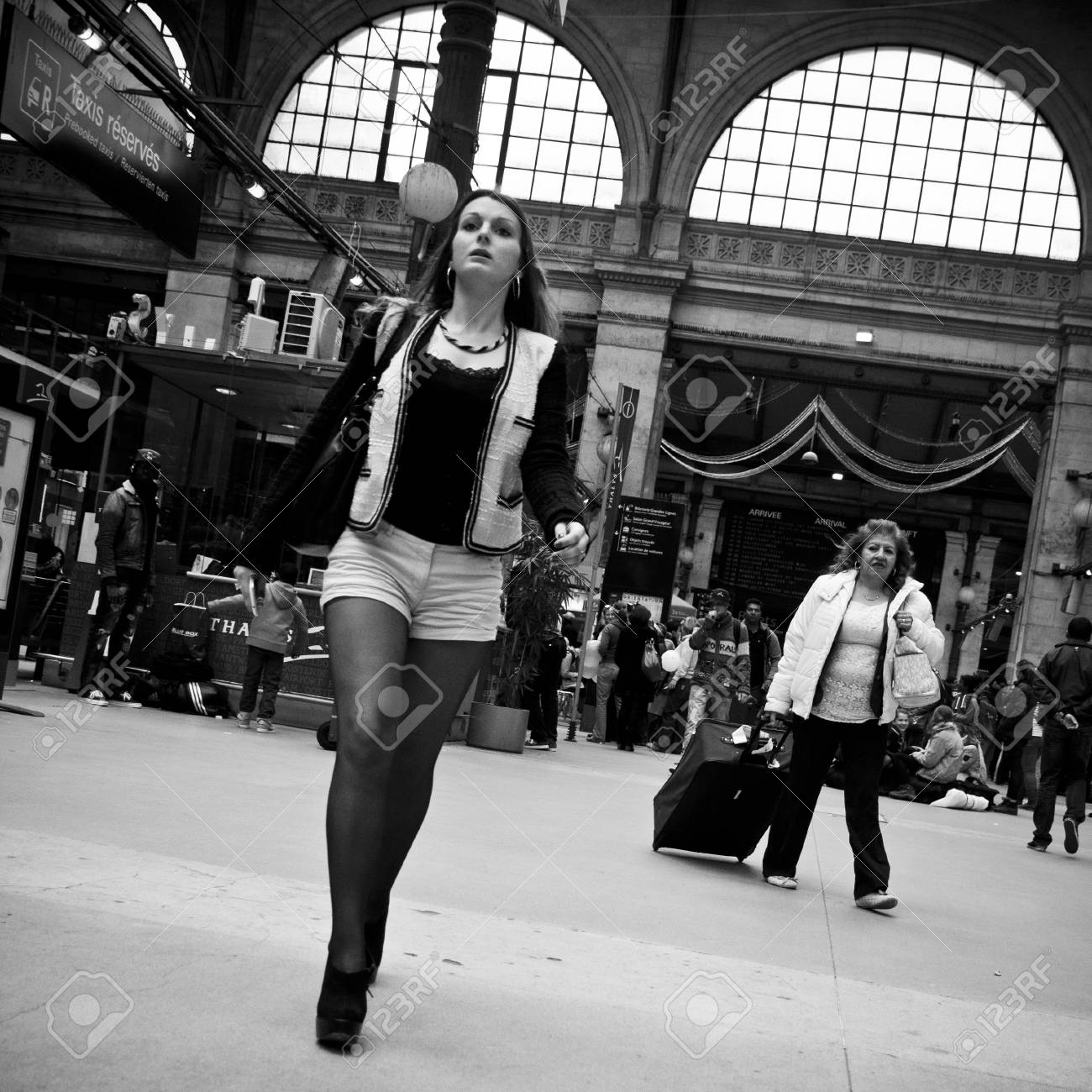 Paris france 27 april 2013 woman at gare du nord in paris stock