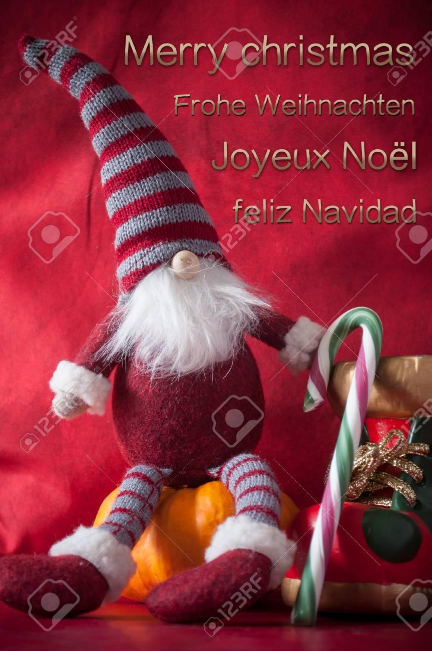 Grußkarte Frohe Weihnachten Mit Vier Sprachen Englisch Französisch