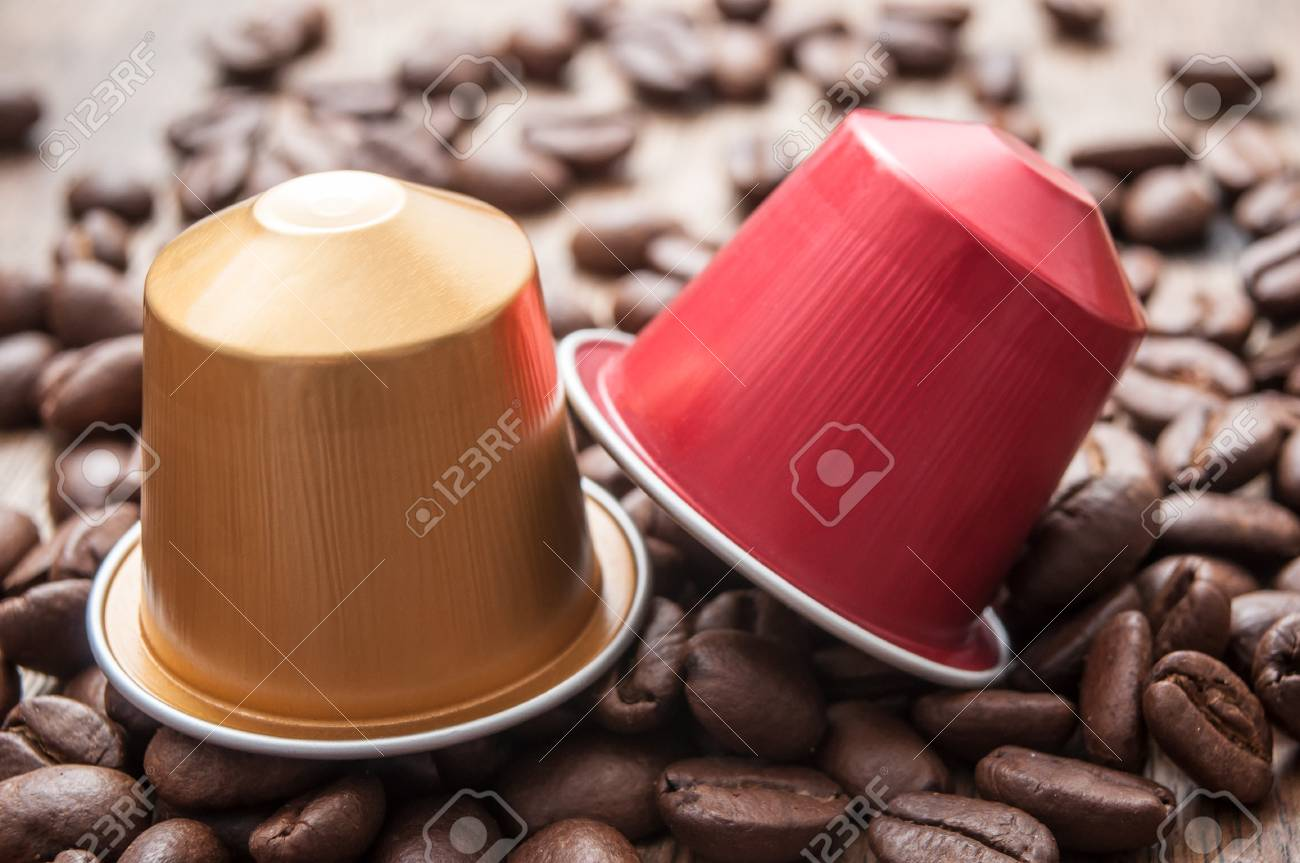 closeup of colorful espresso coffee doses with coffee beans on wooden table background - 96335510