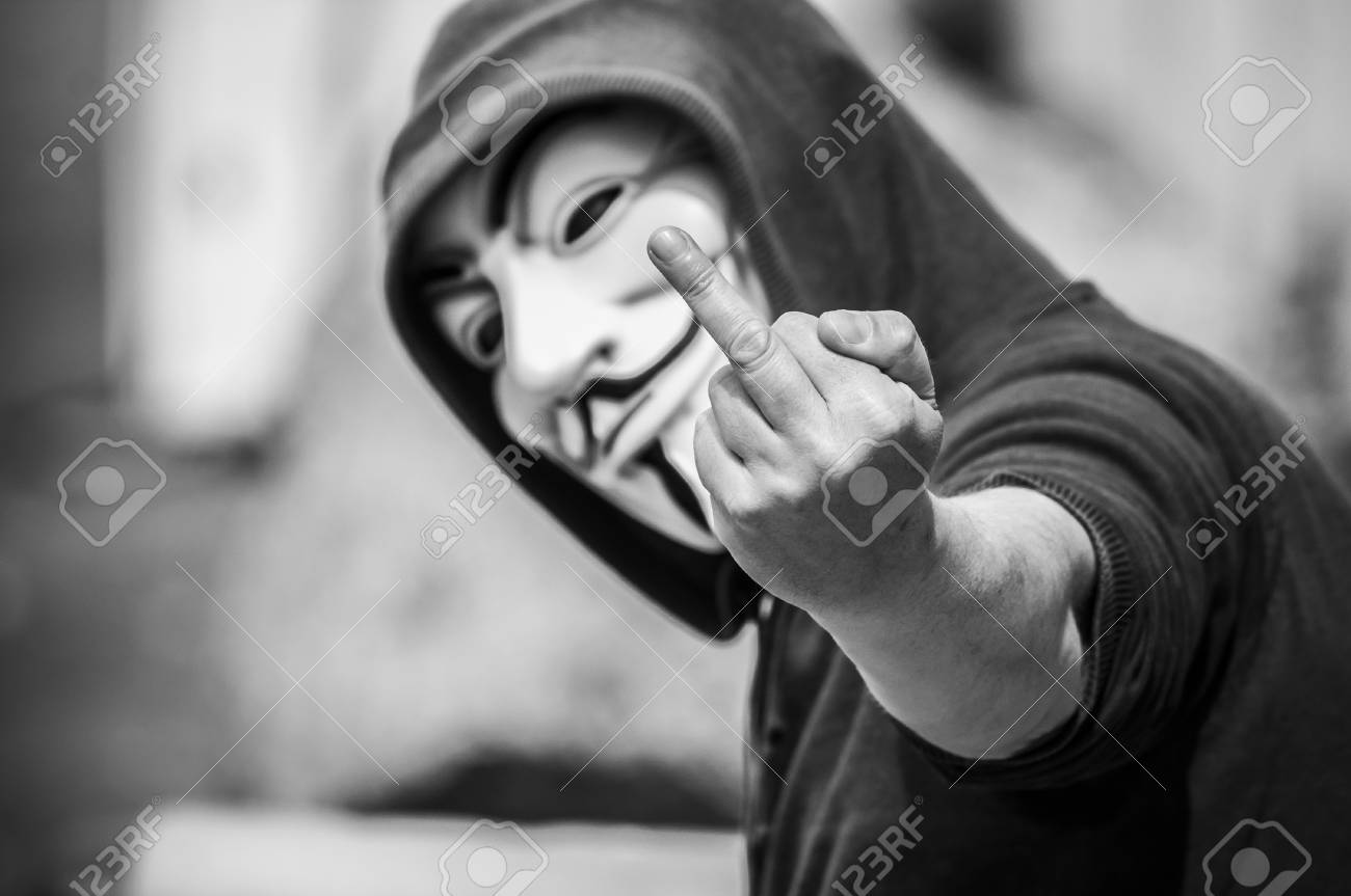 Paris france 19 may 2018 portrait of man with vendetta mask making bad
