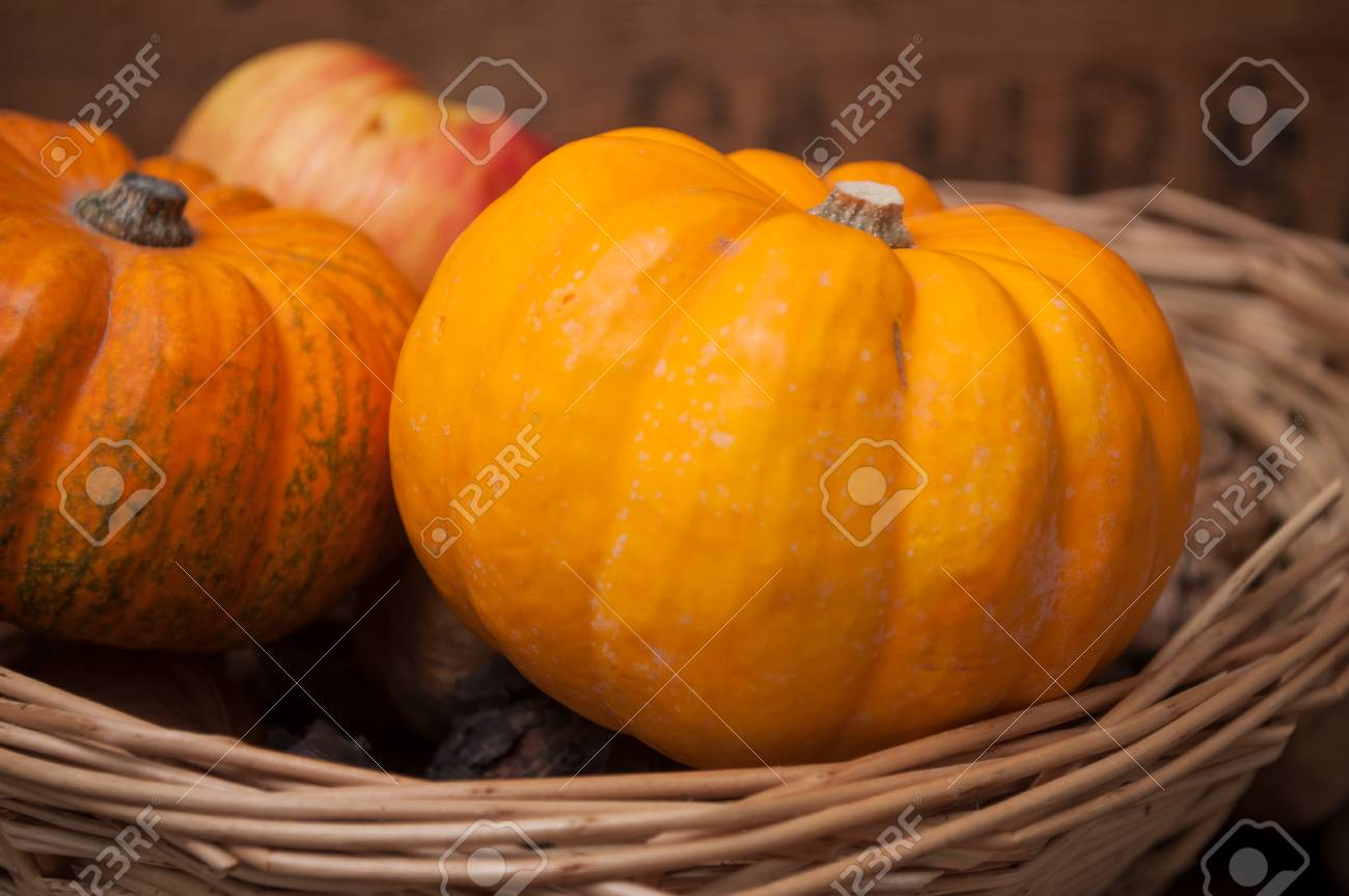 closeup of small pumpkins and walnuts on wooden background stock