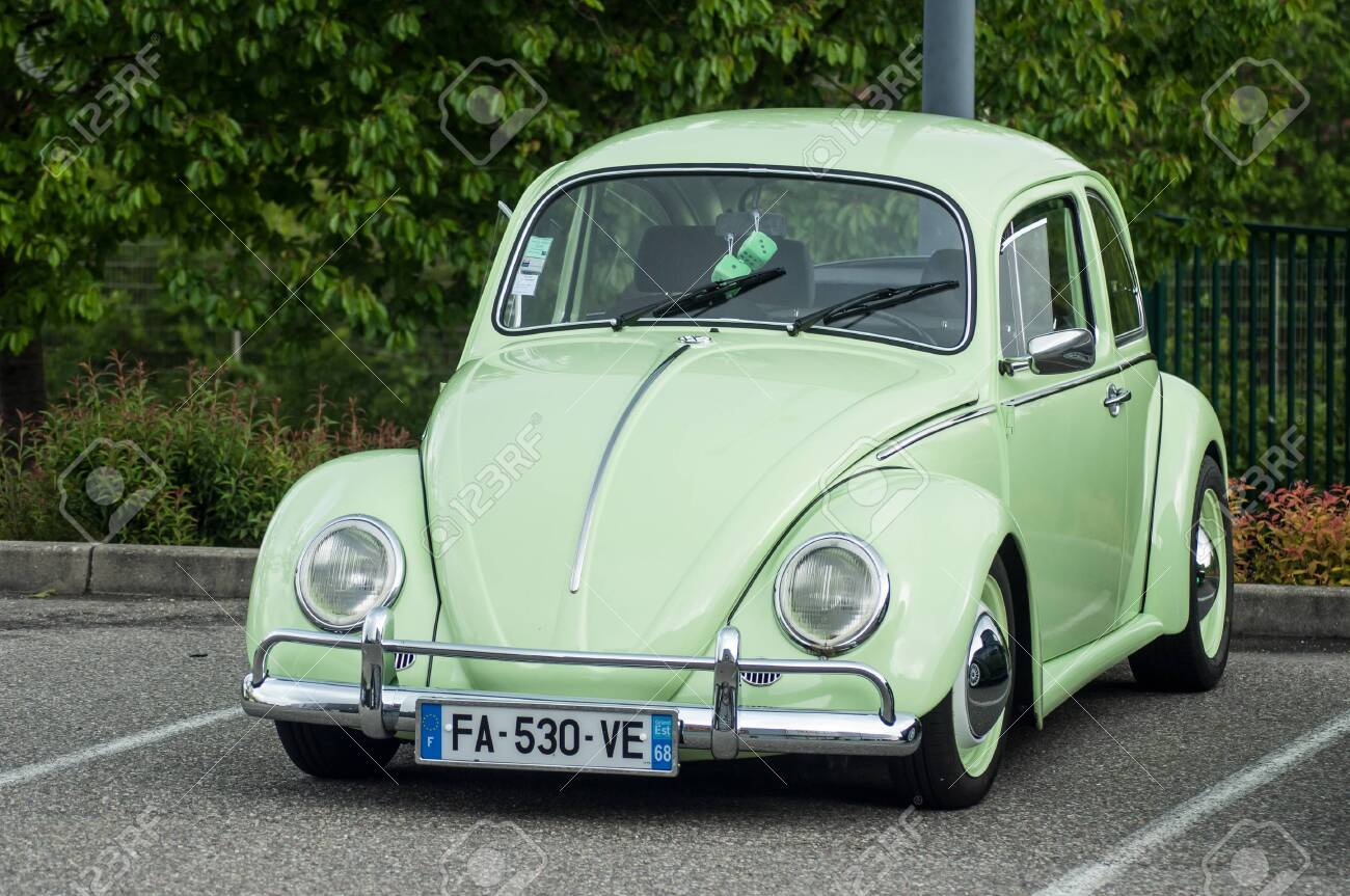 Mulhouse France 12 May 2019 Green Old Volkswagen Beetle