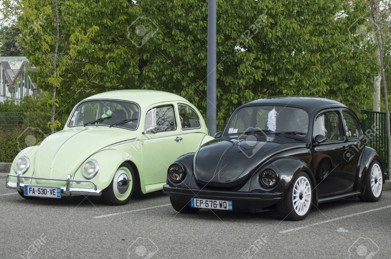 Mulhouse France 12 May 2019 Black And Green Old Volkswagen