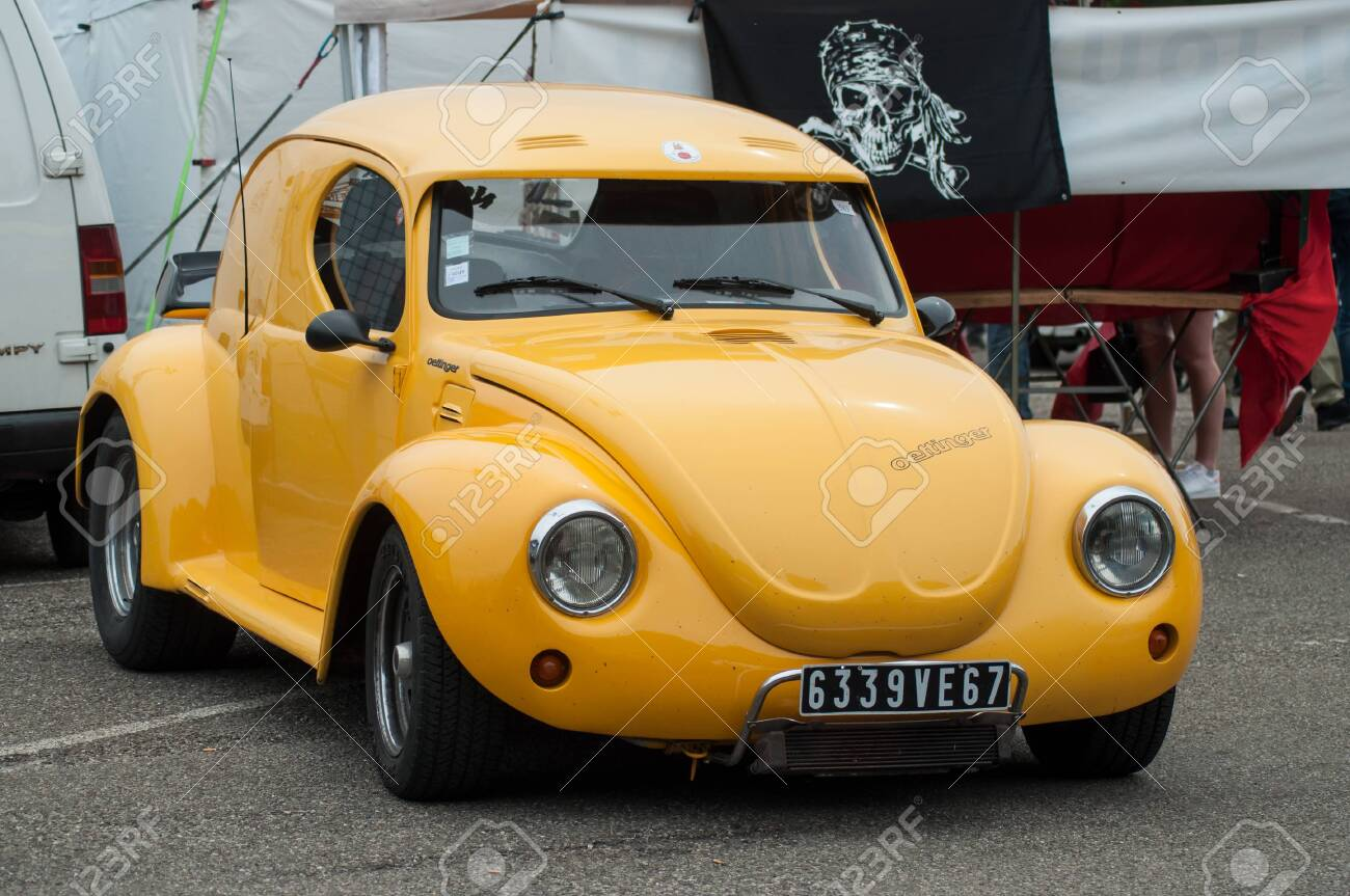 Illzach France 9 June 2019 Yellow Old Volkswagen Beetle
