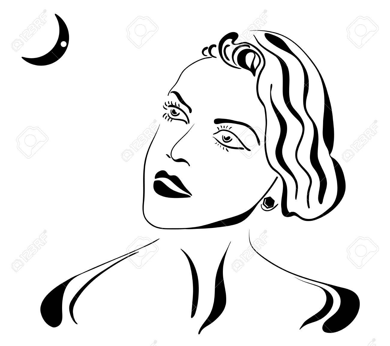 The retro style girl, looking to the moon Stock Vector - 10952060
