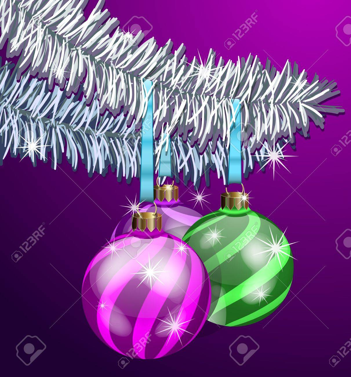 The Realistic Christmas Balls on fir branches Stock Vector - 11674304