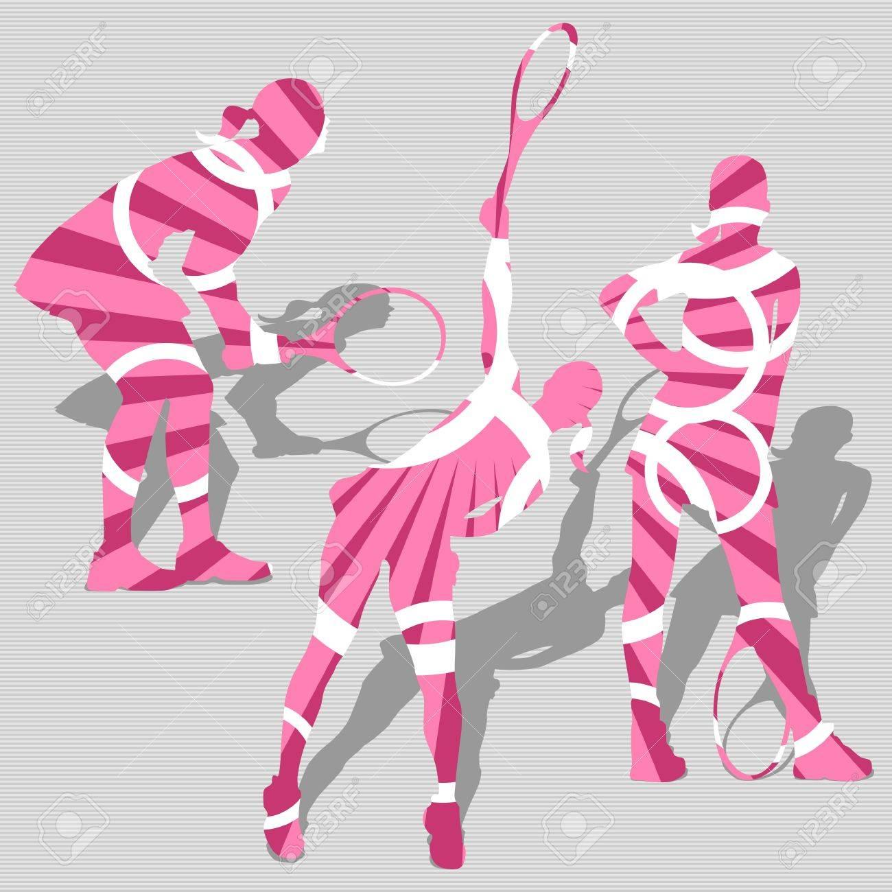 Pink Women s Tennis Sport Silhouettes, modern design Stock Vector - 12813179