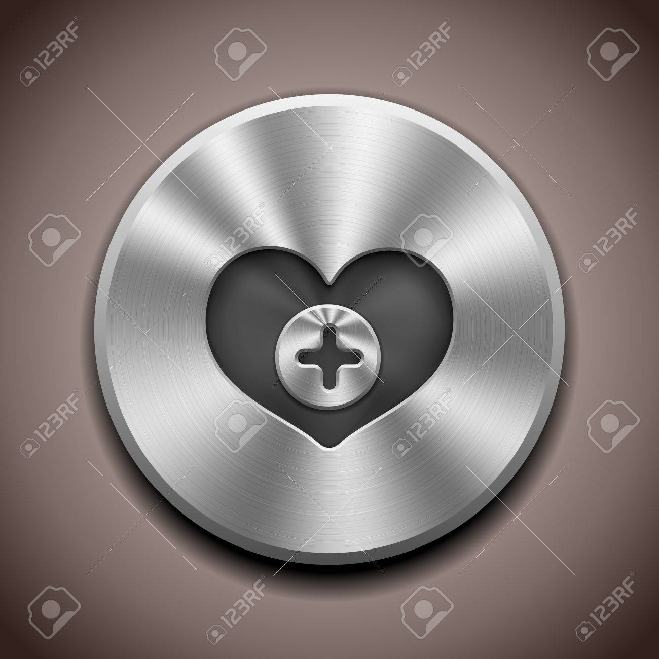 Realistic Metal Favorite button with circular processing Stock Vector - 12813251