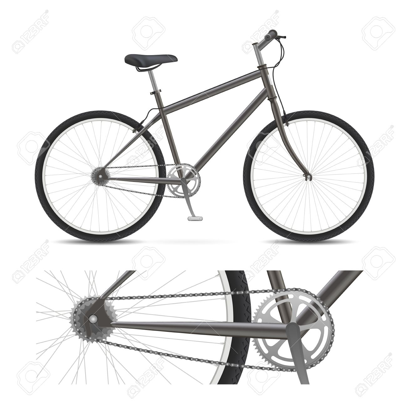 Bicycle with wheels, pedals, chain gear, and tires Stock Vector - 12813277
