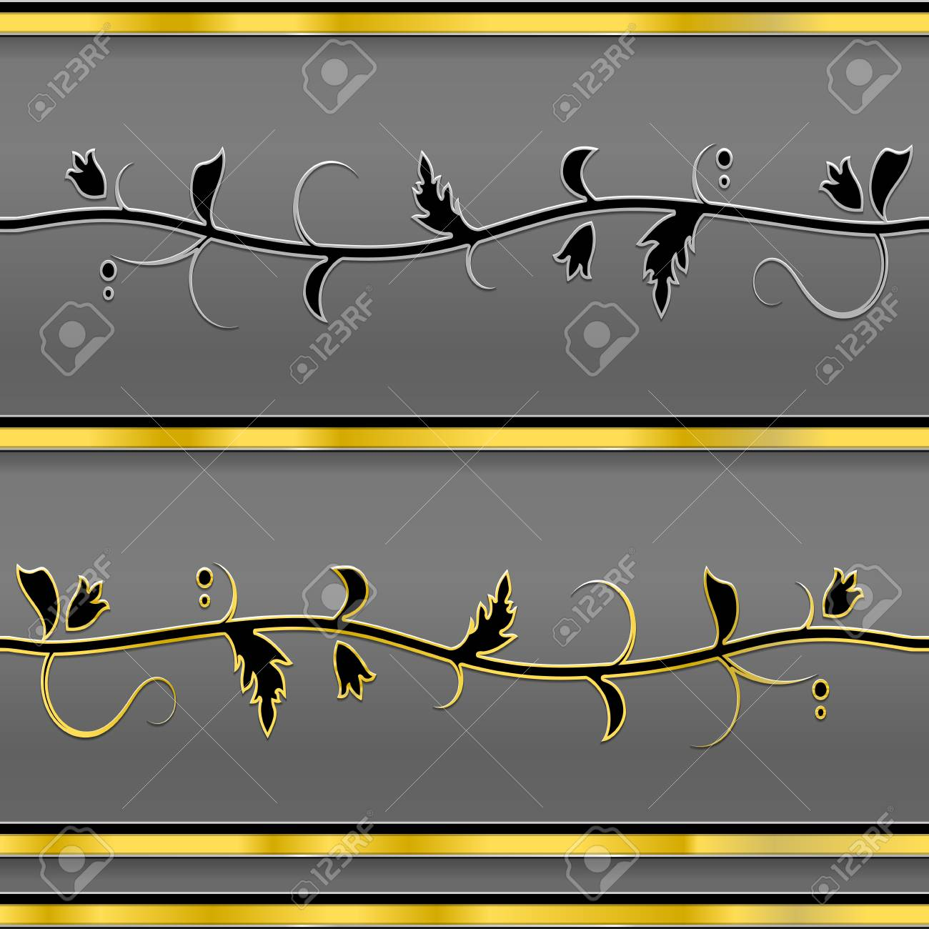 Vector Seamless Decor Border with metal leaves Stock Vector - 12957621