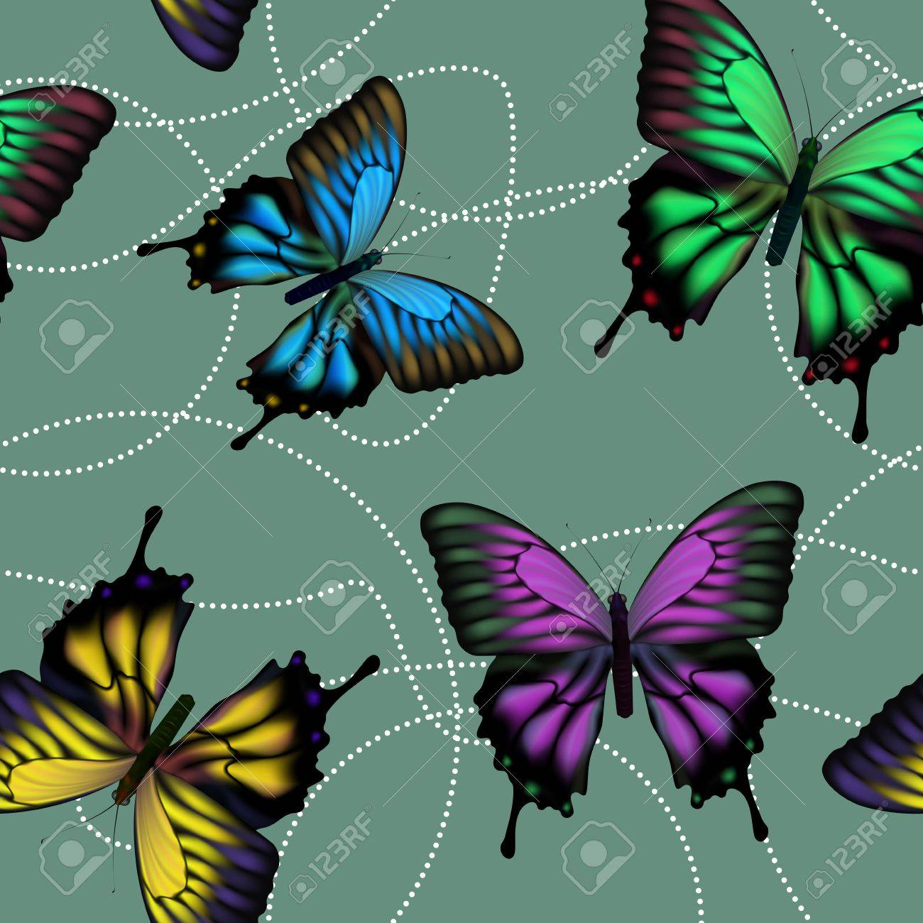 Seamless background with colorful mech fluttering butterflies Stock Vector - 13742149