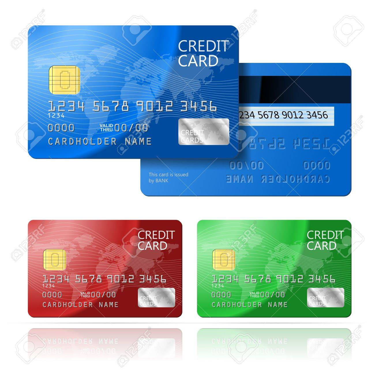 realistic vector credit card two sides blue green red royalty