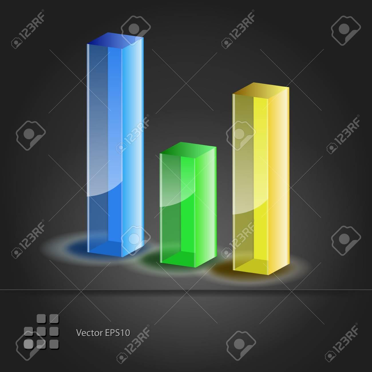 Crystal glass diagram  Bar Chart icon  Vector illustration Stock Vector - 15395634