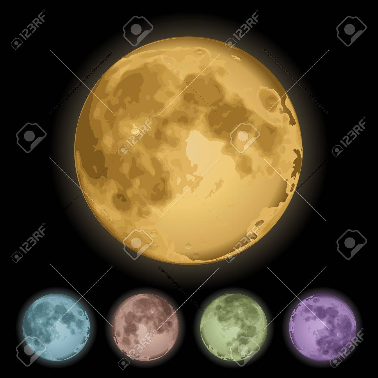 Realistic Isolated full moon on black  Vector illustration Stock Vector - 15581767