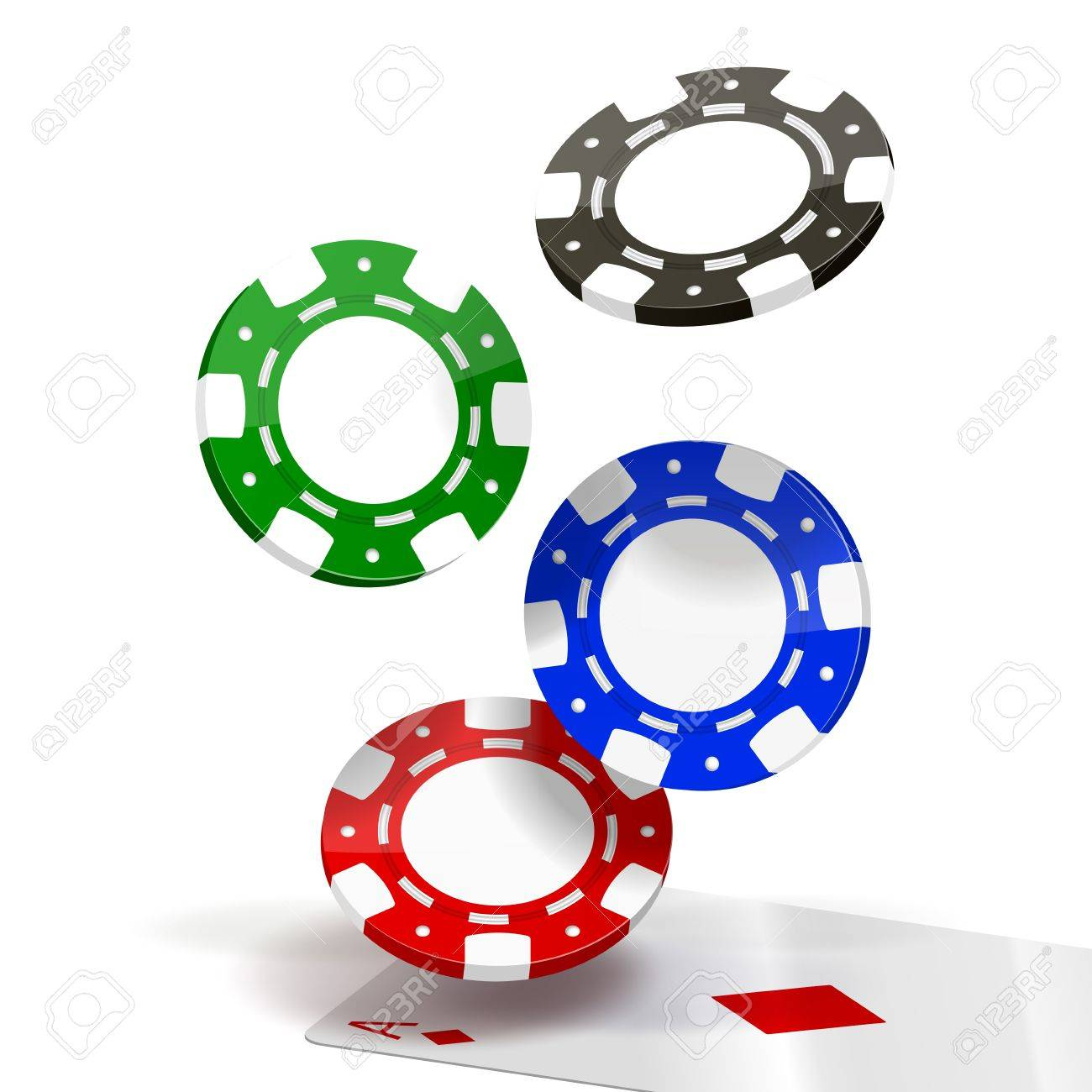 Falling Poker Chips isolated on white  Illustration Stock Vector - 15684089