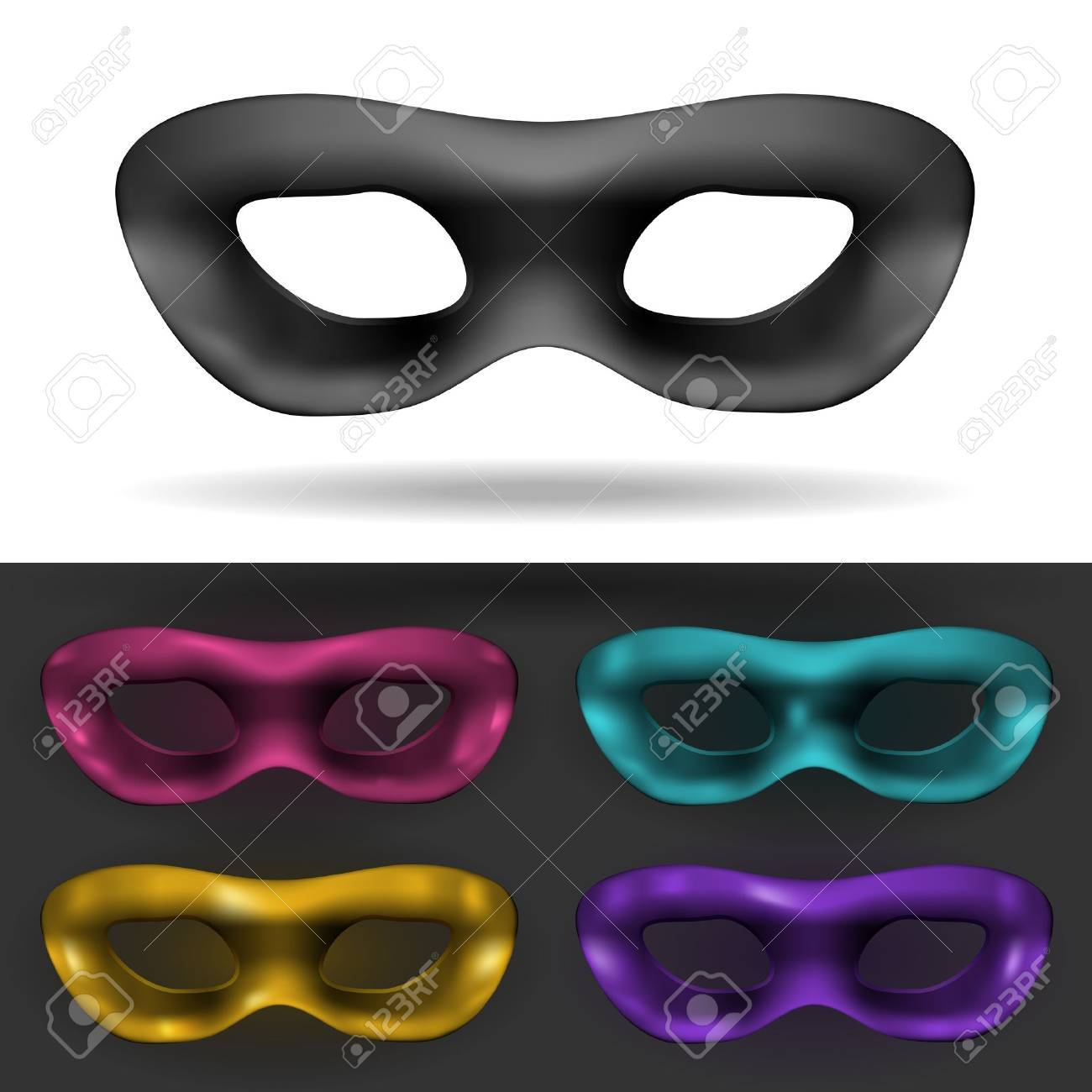 Simple Black and colored Carnival Mask isolated Stock Vector - 15798616