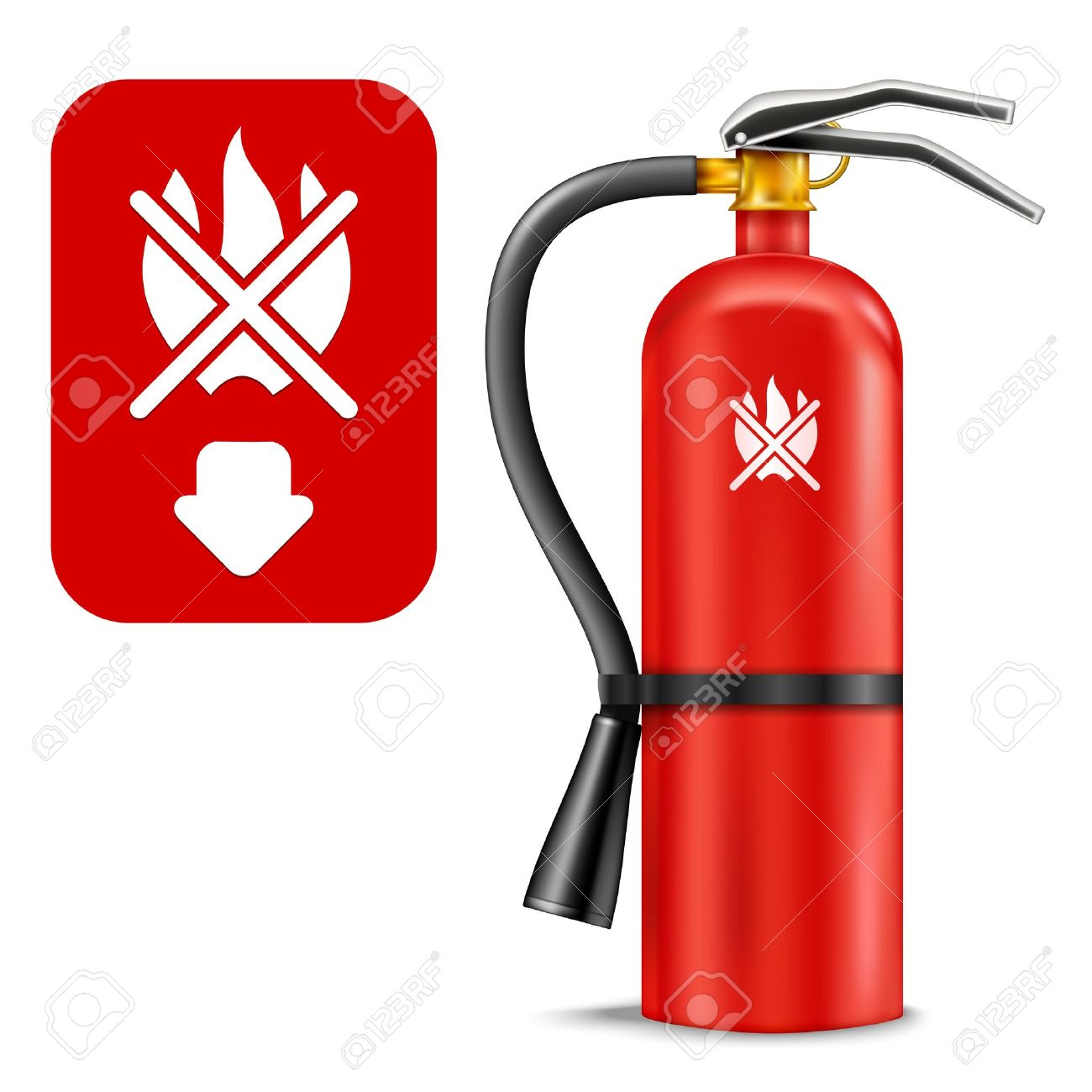 Fire Extinguisher and Sign isolated on white. Illustration Stock Vector - 15860728