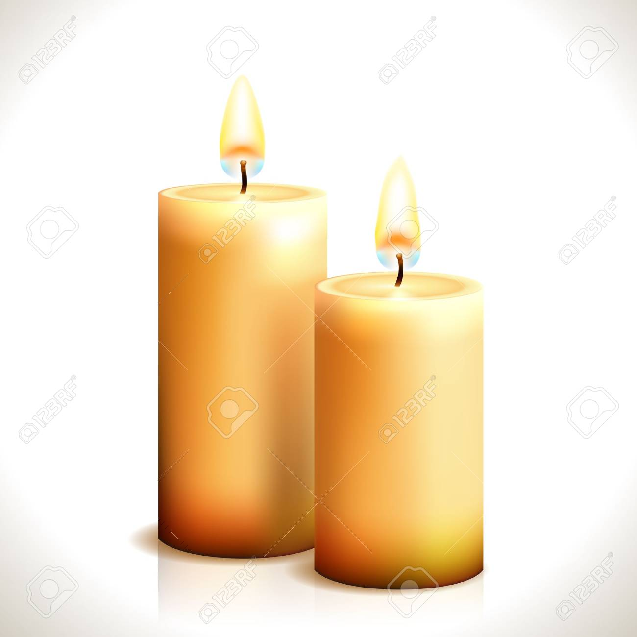 Burning Candles isolated on white  Illustration Stock Vector - 16112777