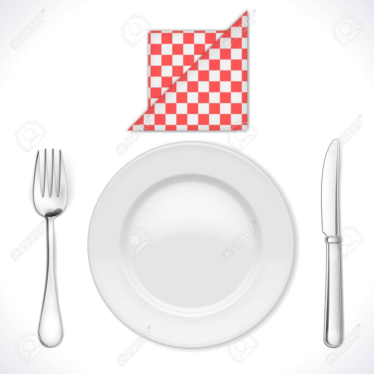 Dinner place setting isolated on white  Illustration Stock Vector - 16242609