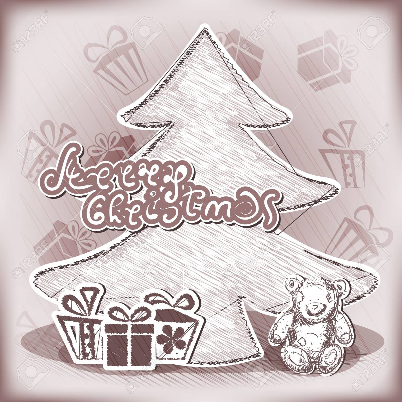 Vector Christmas card Illustration with tree, teddy bear and gifts Stock Vector - 16332414