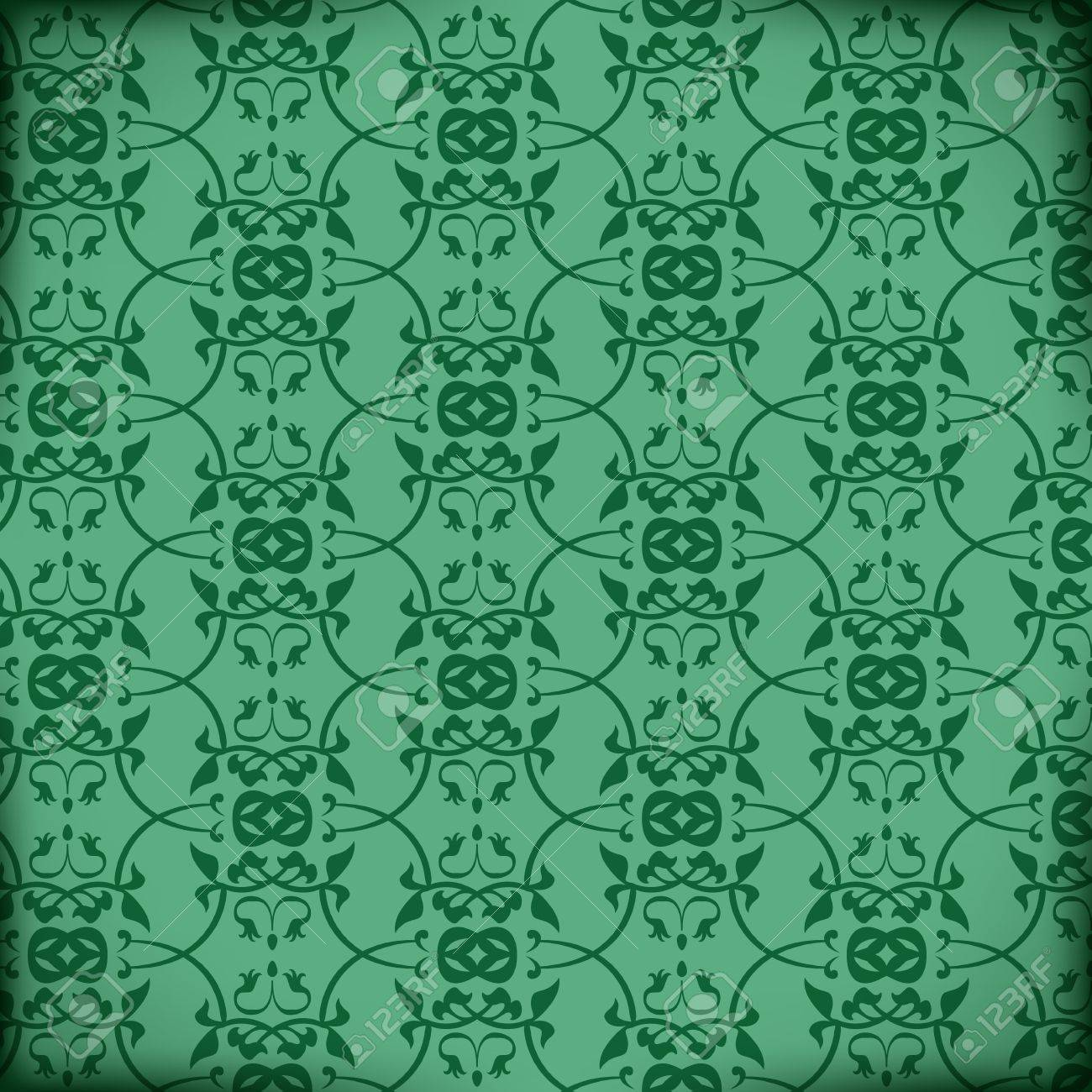 Retro Vector Victorian Pattern on green background Stock Vector - 16332406