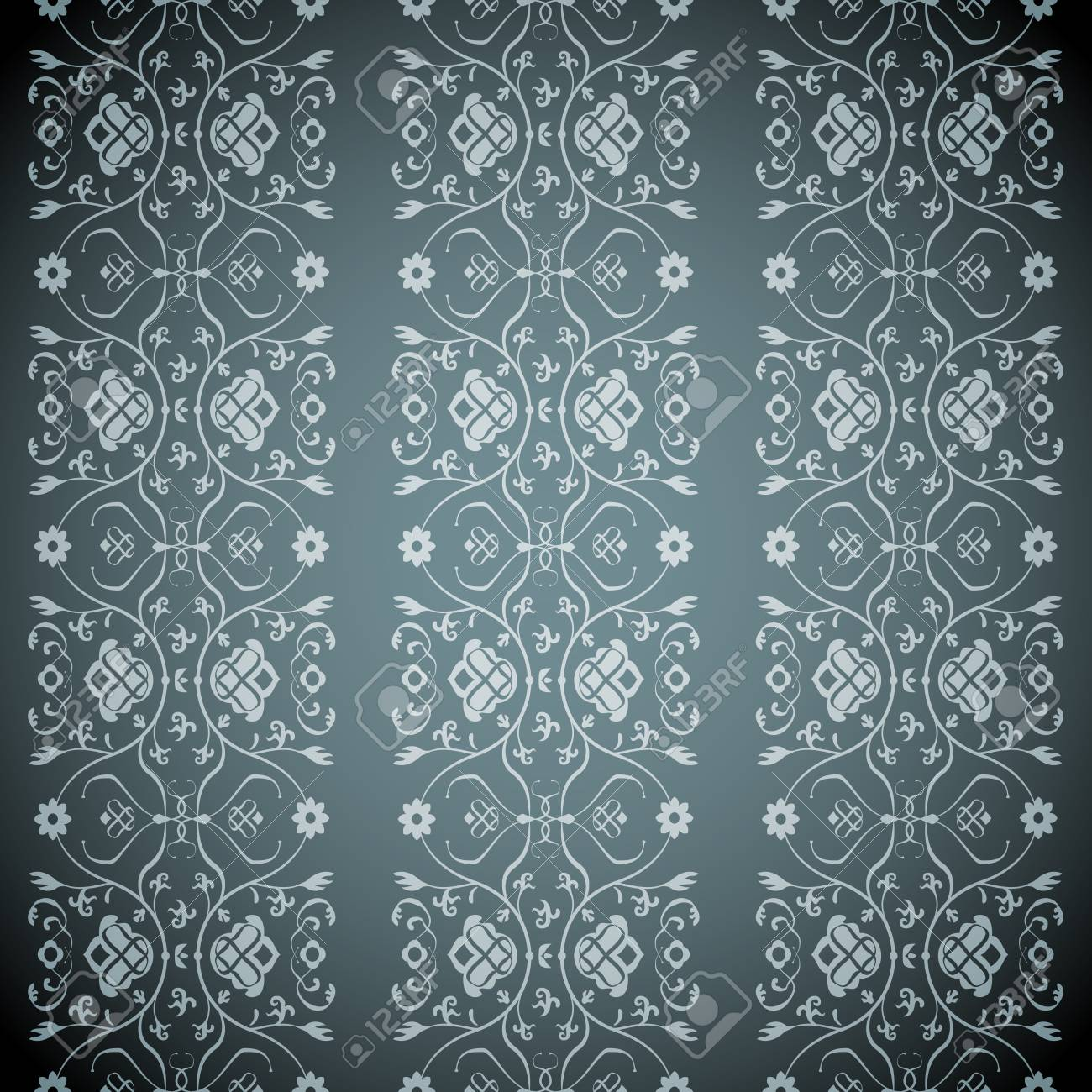 Vector Seamless vertical Classic Victorian Pattern Stock Vector - 16332409