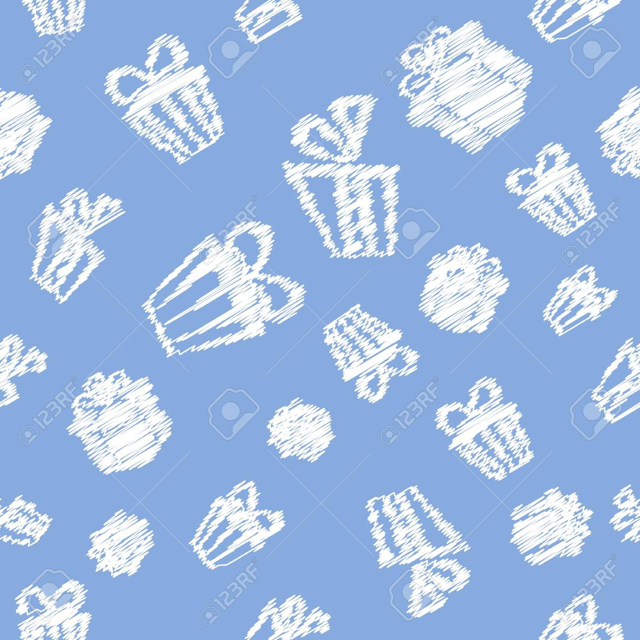 Seamless Gift pattern background with white doodles on blue Stock Vector - 16428534