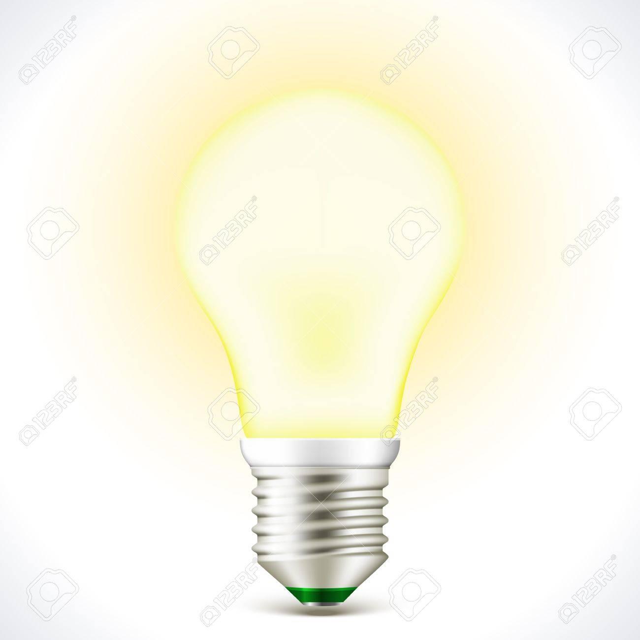Vector Lighted Energy saving bulb lamp isolated on white Stock Vector - 16668548