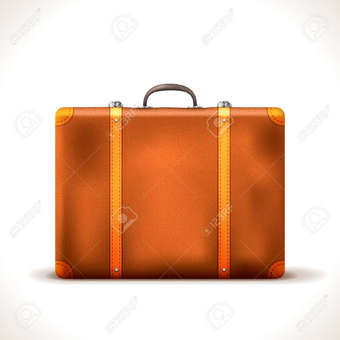 vintage Travel Suitcase isolated on white Stock Vector - 17092600