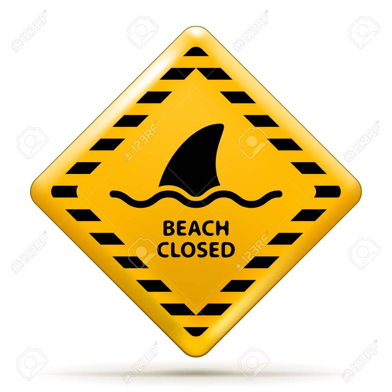 Vector Beach Closed Sign, Shark sighting sign isolated on white  EPS10 opacity Stock Vector - 17467931