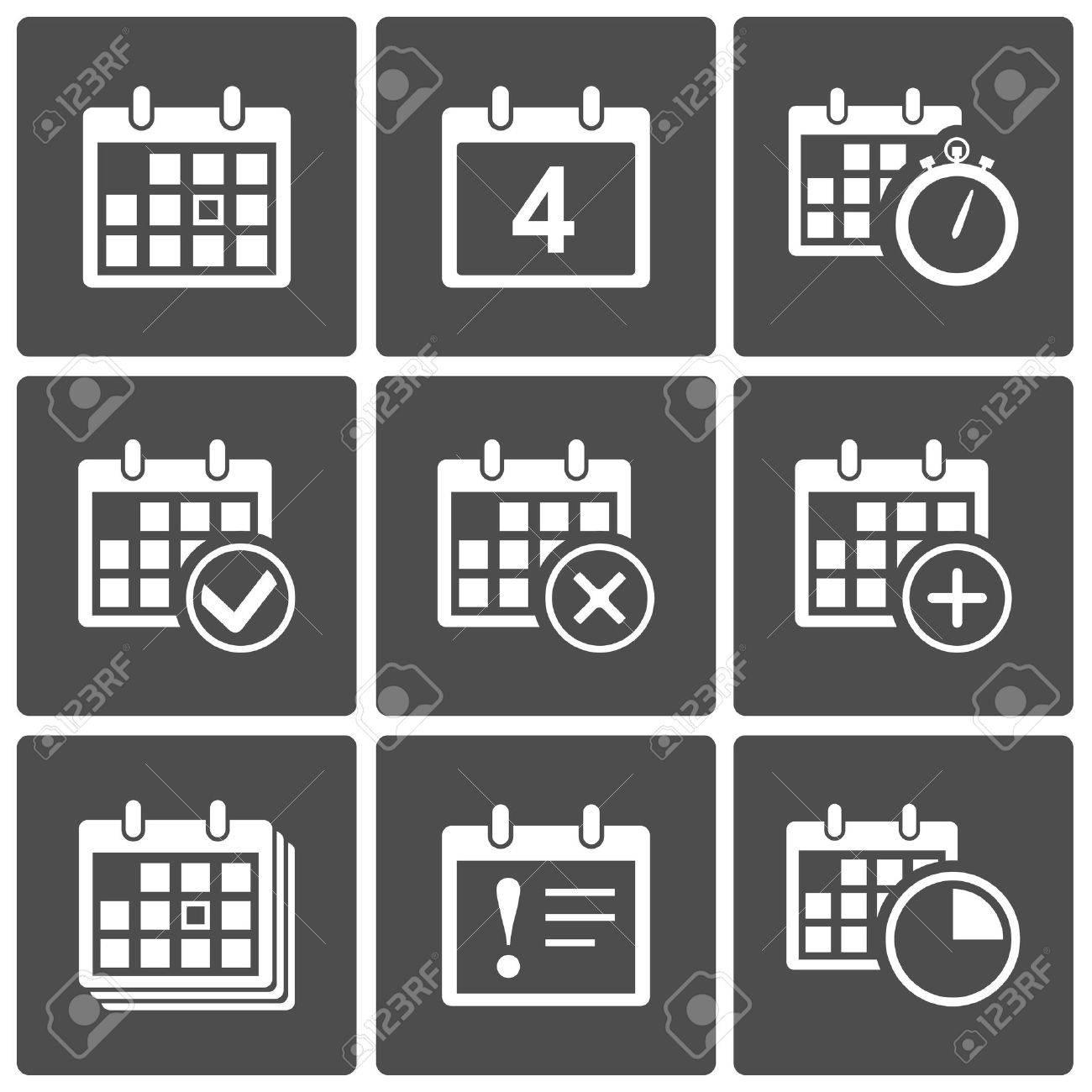 Vector Calendar Icons  event add delete progress Stock Vector - 17905519