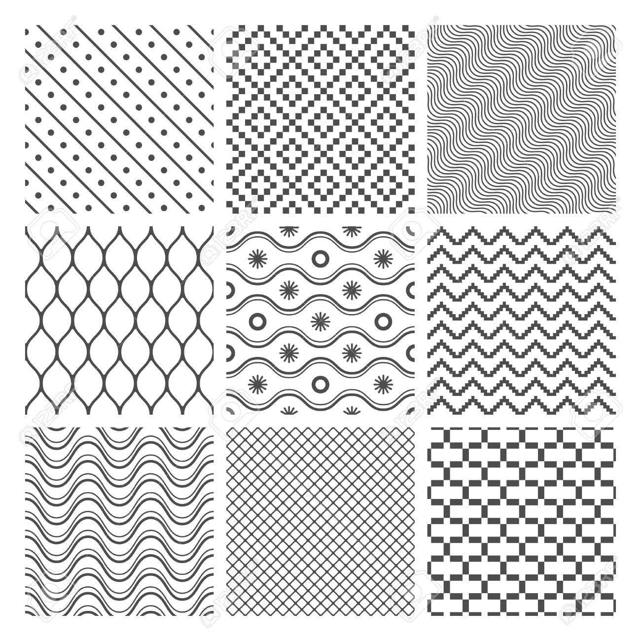 Geometric Seamless Patterns Set  Monochrome Textures on white Stock Vector - 18239887