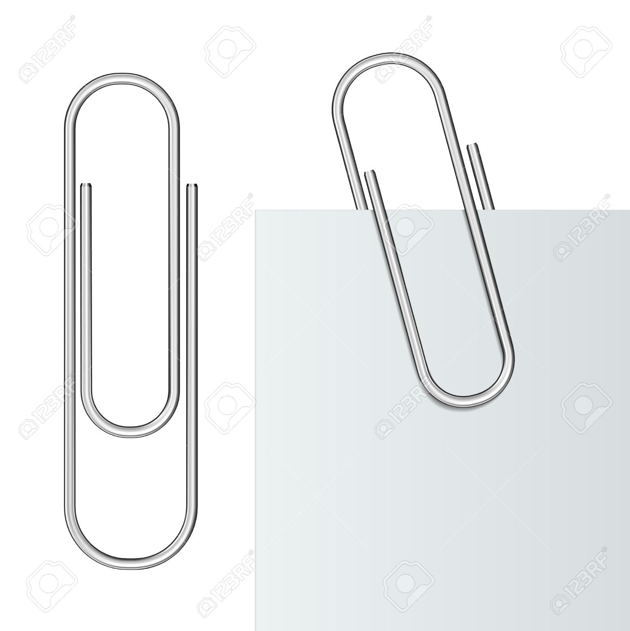 metal paper clip and paper isolated on white background illustration