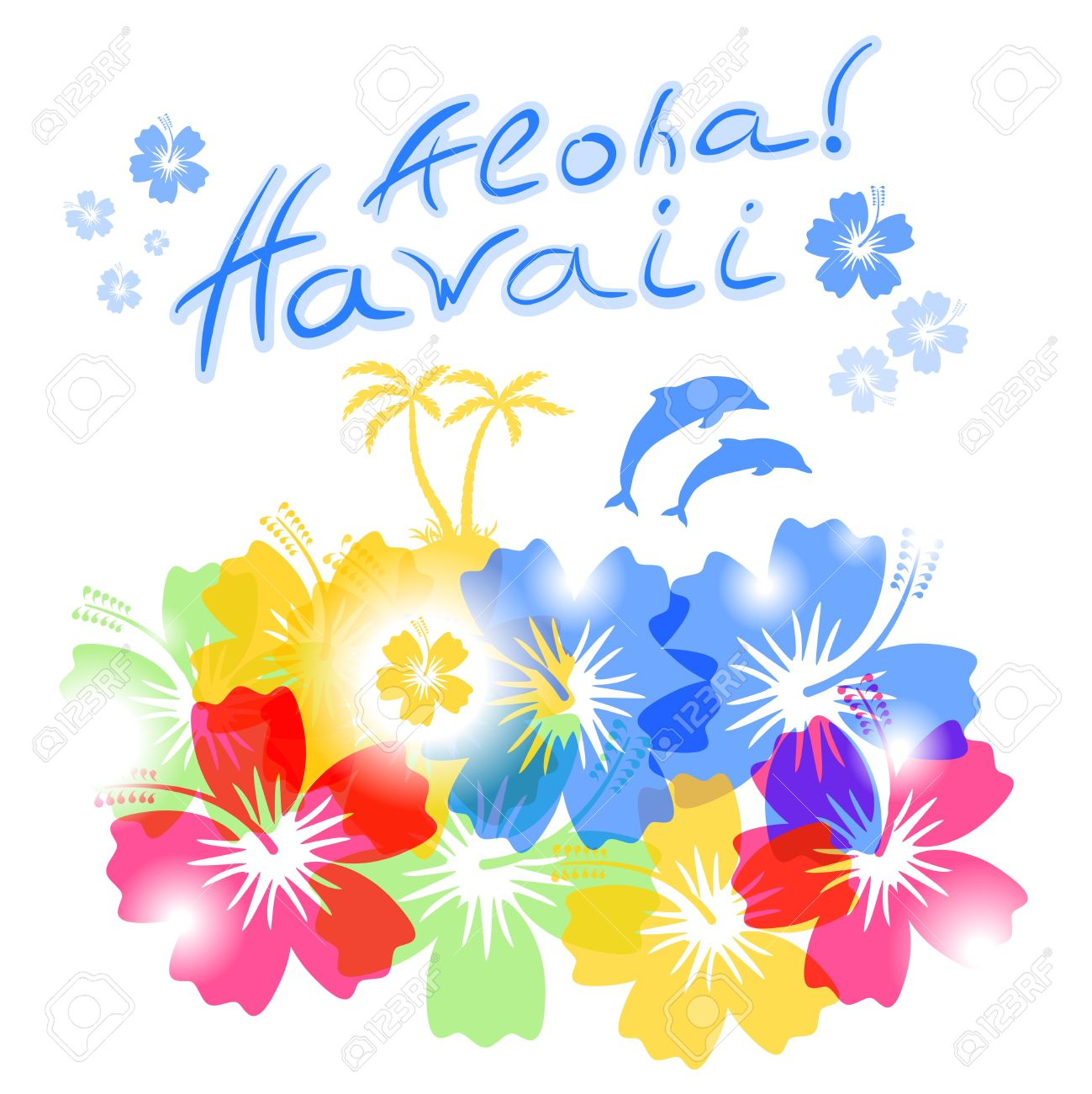 Aloha Hawaii Background With Palm Trees Silhouettes And Hibiscus Flowers Stock Vector