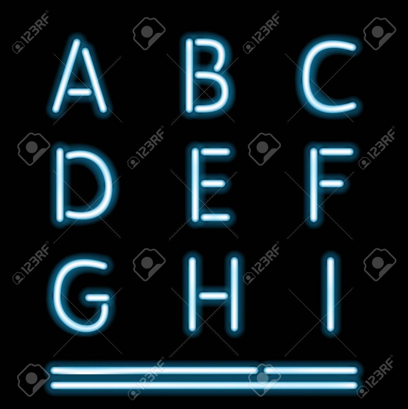 Vector Neon Tube Alphabet Letters, part 1 Stock Vector - 18383410