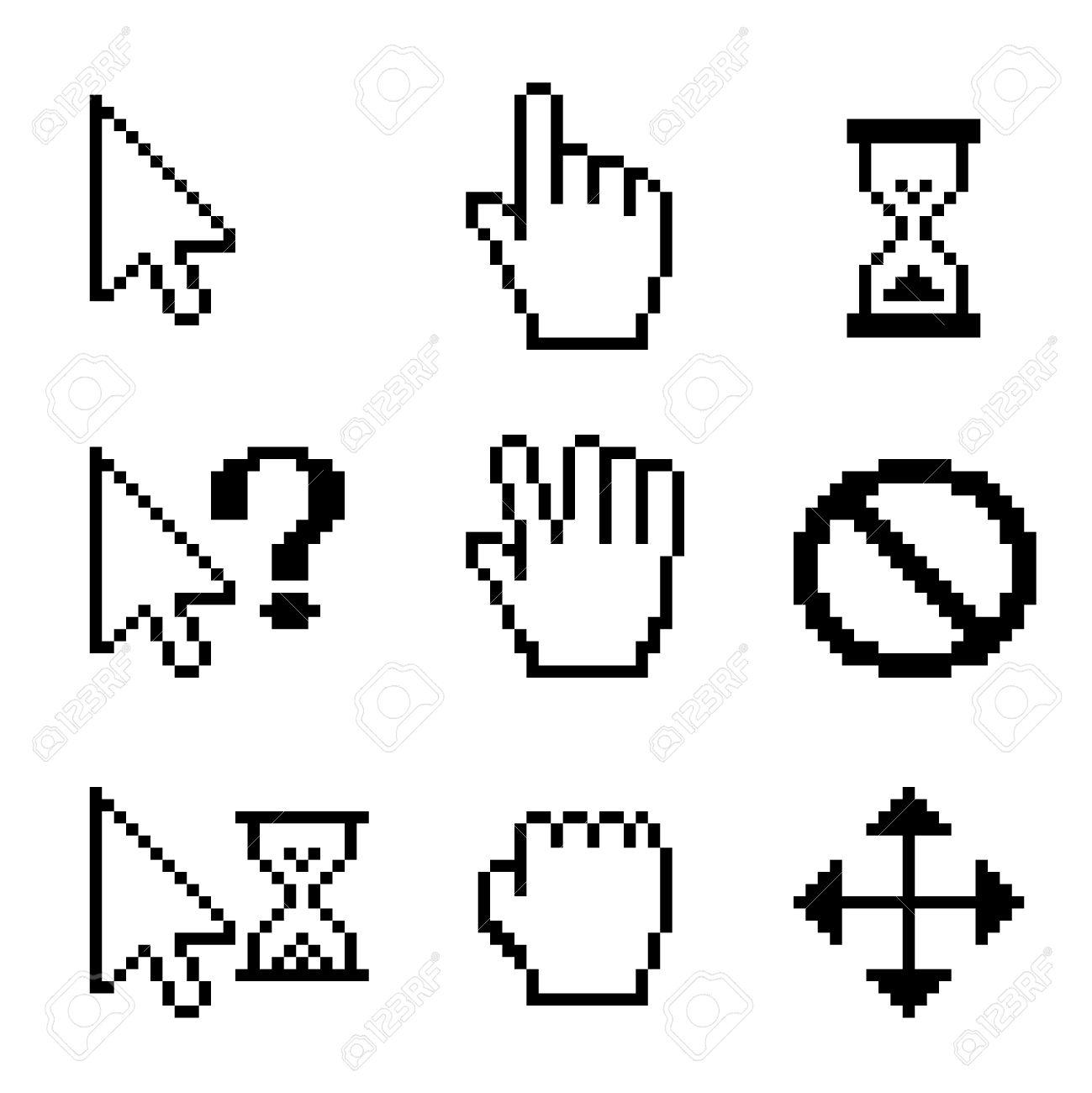 Vector Mouse cursors over white  hand drag arrow pointer Stock Vector - 18543528