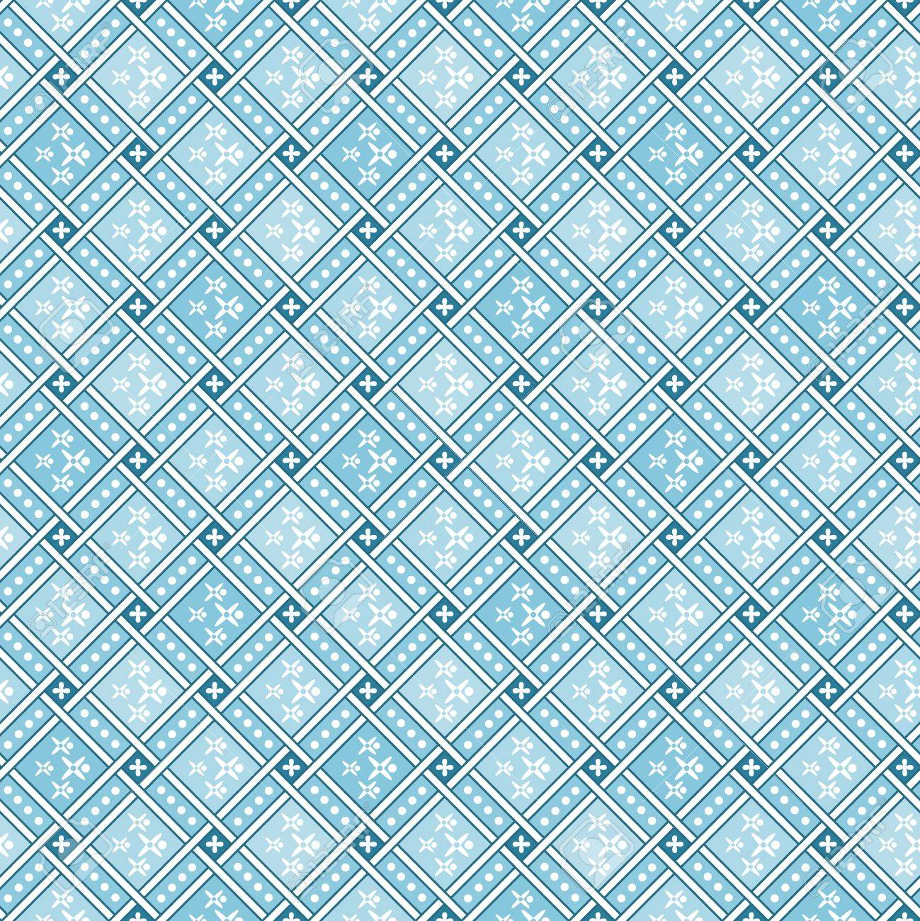 Blue geometric tiles Decorative Abstract Seamless Pattern texture Stock Vector - 18676059