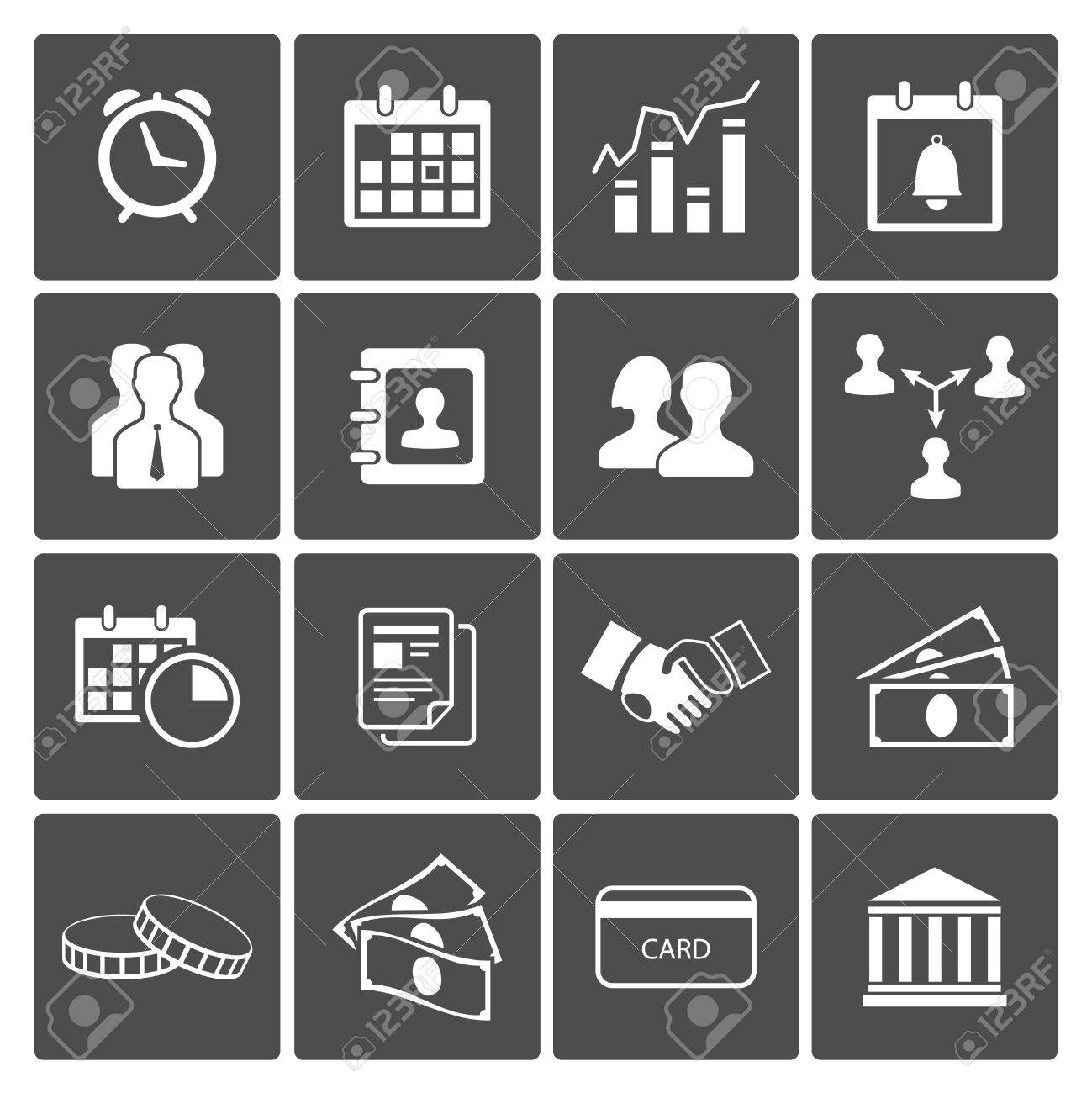 Time and Money Icons Set  handshake deal staff calendar Stock Vector - 18688490