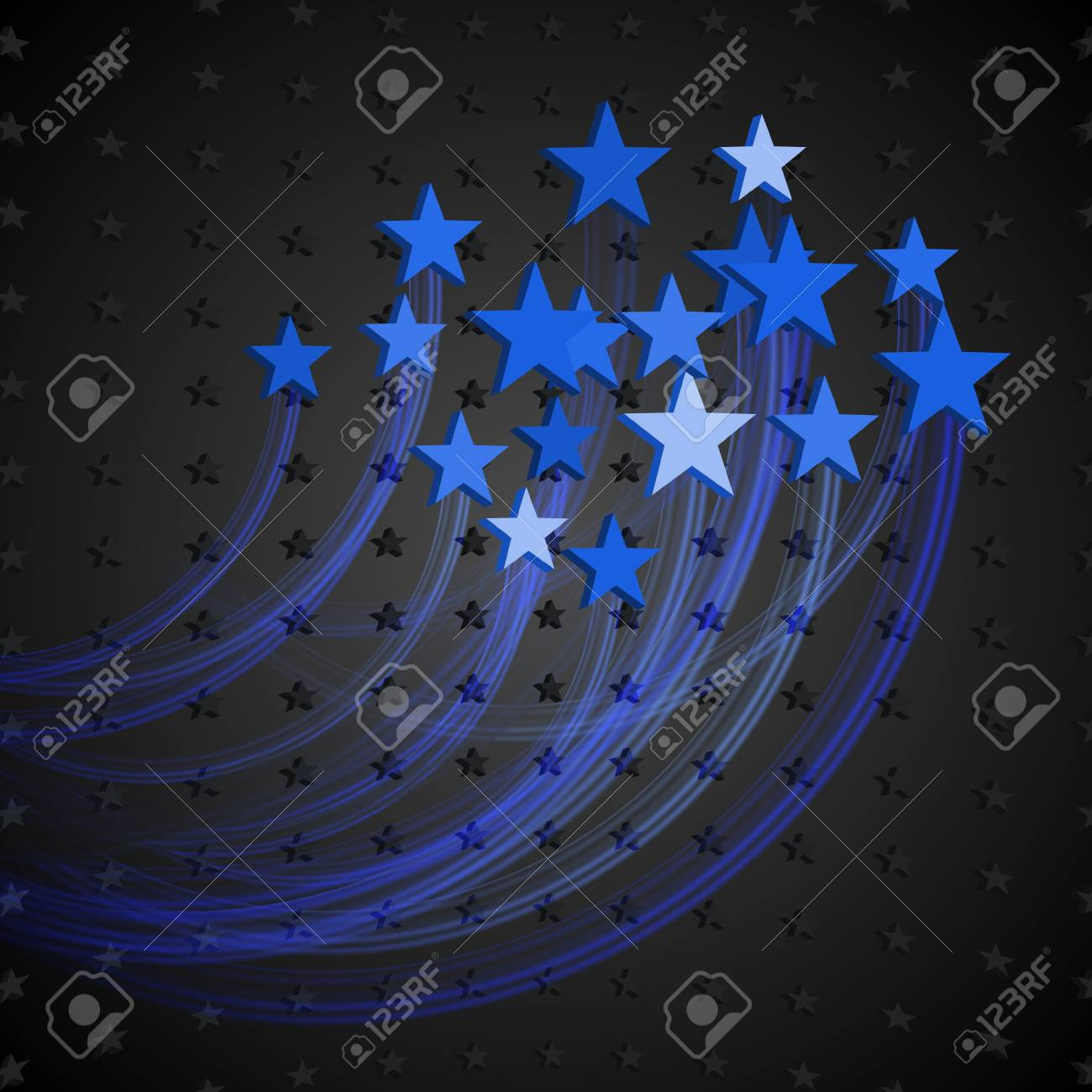 Abstract Background with Blue Stars  Styled fireworks Stock Vector - 18844821