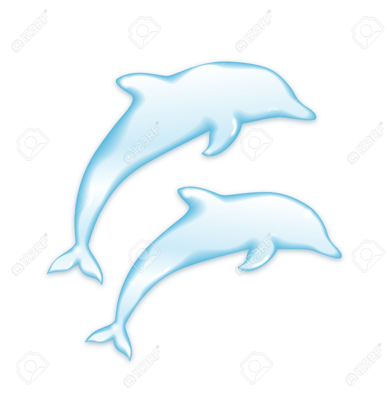 Vector Dolphins silhouette of water isolated on white background Stock Vector - 19263014
