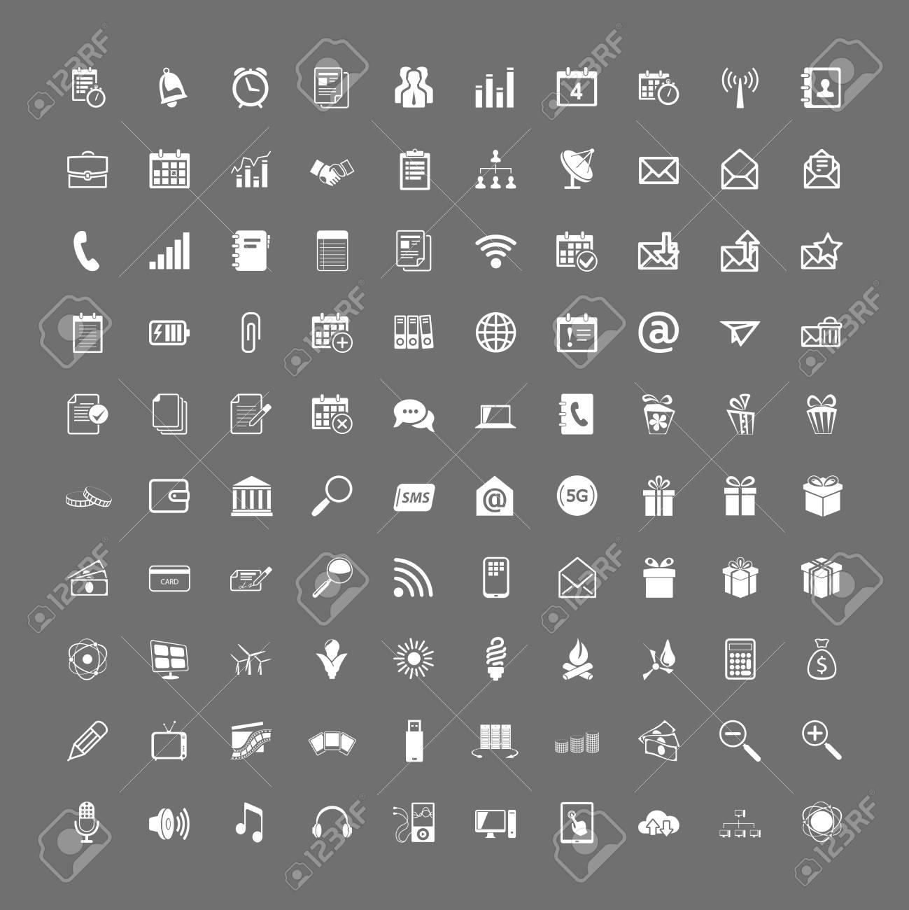 100 universal web icons set vector white on gray Stock Vector - 19374221