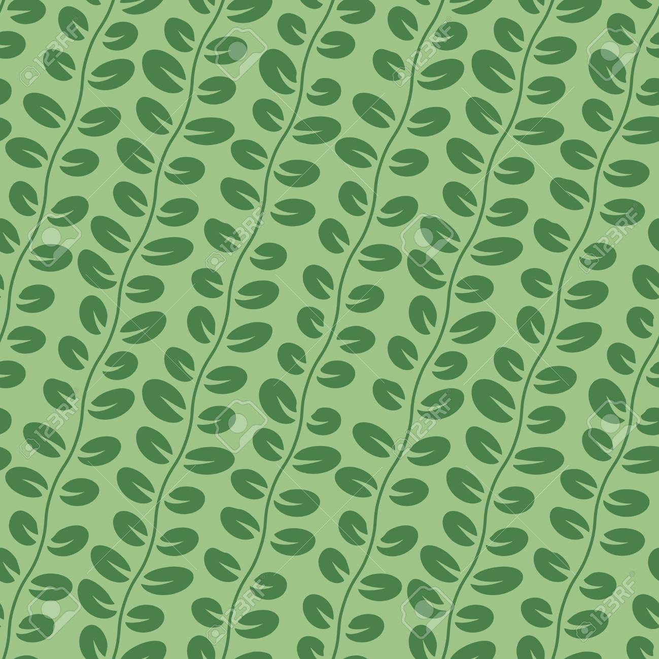 Vector Seamless Leaf Pattern with branches on Green Background Stock Vector - 19374226