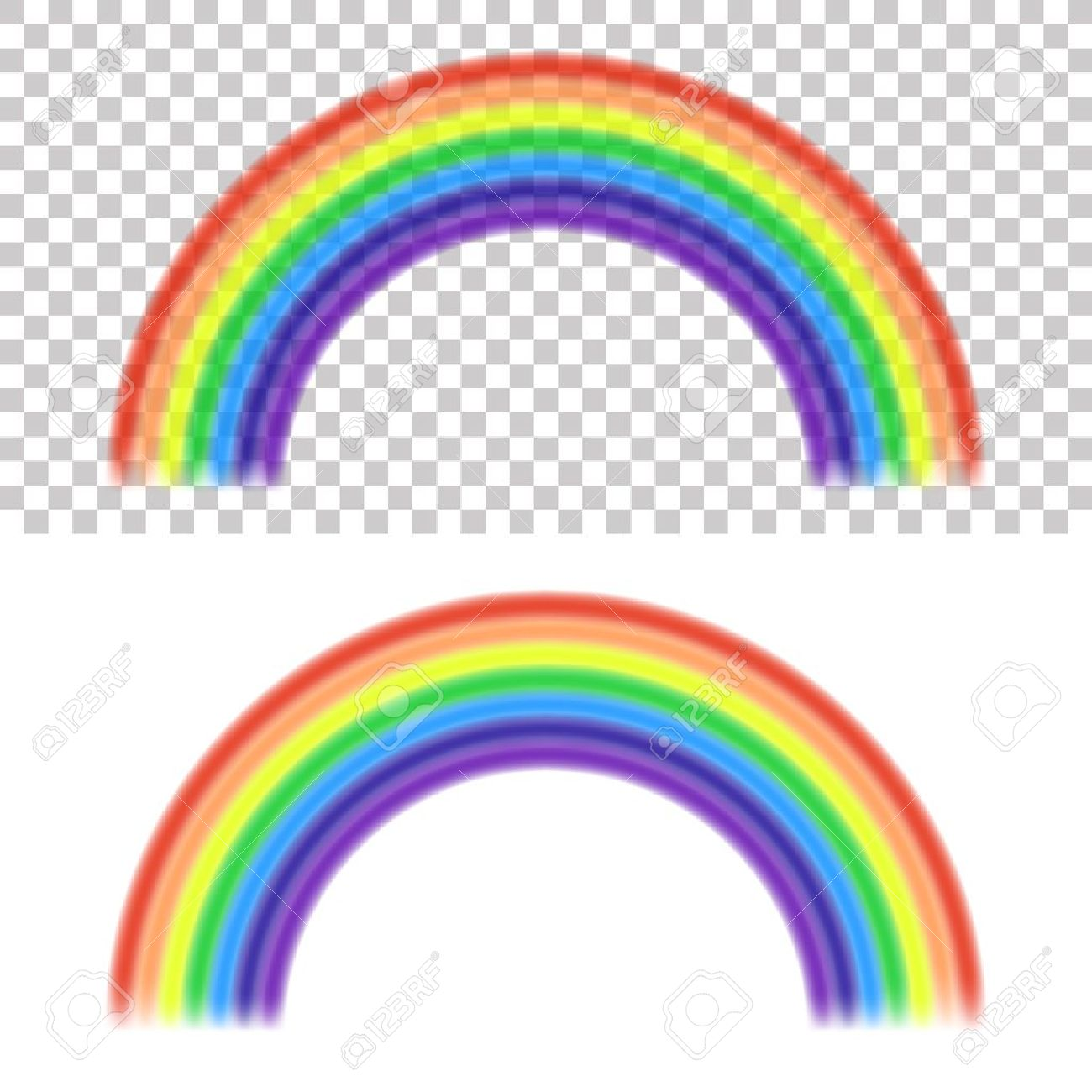 vector rainbow on transparent and white background royalty free