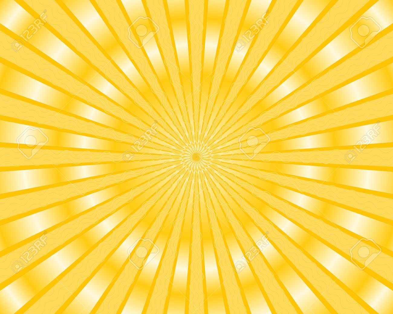 vector yellow stripes background with golden rays